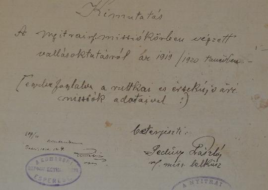 A Szlovenszkói Dunáninneni Református Egyházkerület és a Szlovenszkói Református Egyetemes Egyház Konventje Pápán őrzött iratainak válogatott jegyzéke 1920-1923