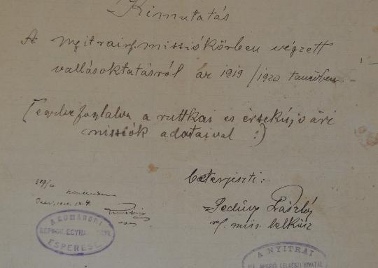 A Szlovenszkói Dunáninneni Református Egyházkerület és a Szlovenszkói Református Egyetemes Egyház Konventje Pápán őrzött iratainak válogatott jegyzéke 1924-1926
