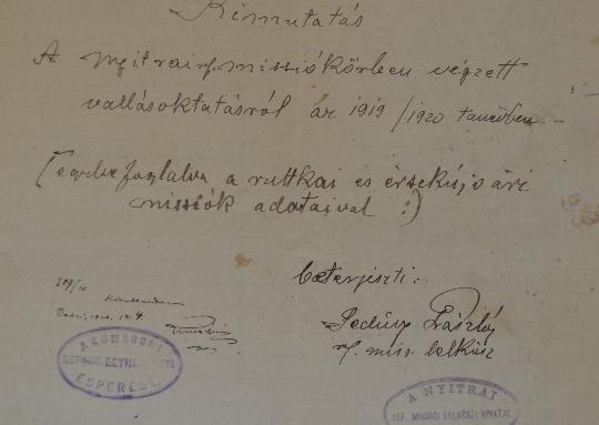 A Szlovenszkói Dunáninneni Református Egyházkerület és a Szlovenszkói Református Egyetemes Egyház Konventje Pápán őrzött iratainak válogatott jegyzéke 1926-1928