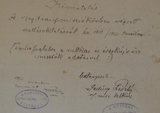 A Szlovenszkói Dunáninneni Református Egyházkerület és a Szlovenszkói Református Egyetemes Egyház Konventje Pápán őrzött iratainak válogatott jegyzéke 1928-1930
