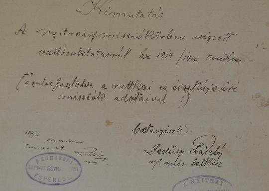 A Szlovenszkói Dunáninneni Református Egyházkerület és a Szlovenszkói Református Egyetemes Egyház Konventje Pápán őrzött iratainak válogatott jegyzéke 1930-1931