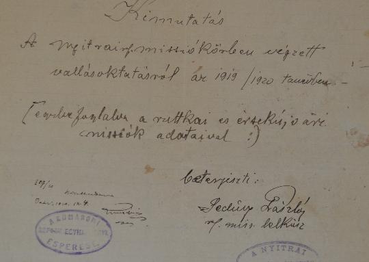 A Szlovenszkói Dunáninneni Református Egyházkerület és a Szlovenszkói Református Egyetemes Egyház Konventje Pápán őrzött iratainak válogatott jegyzéke 1932-1933