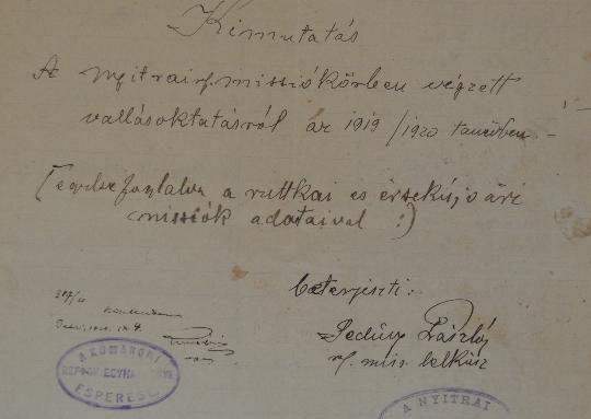 A Szlovenszkói Dunáninneni Református Egyházkerület és a Szlovenszkói Református Egyetemes Egyház Konventje Pápán őrzött iratainak válogatott jegyzéke 1933-1935