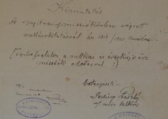 A Szlovenszkói Dunáninneni Református Egyházkerület és a Szlovenszkói Református Egyetemes Egyház Konventje Pápán őrzött iratainak válogatott jegyzéke 1935-1938