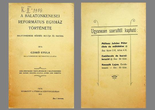 Czakó Gyula: A Balatonkenesei Református Egyház története (1912)