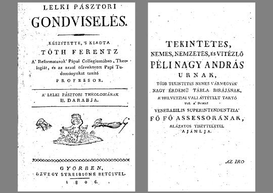 Tóth Ferentz: Lelki pásztori gondviselés (1806)